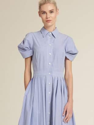 DKNY Striped Poplin Balloon Sleeve Shirt Dress