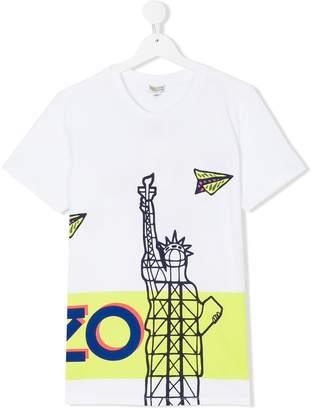 Kenzo logo empire state print T-shirt