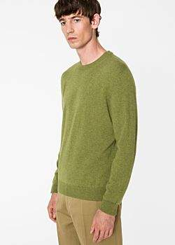 Paul Smith Men's Olive Green Cashmere Sweater