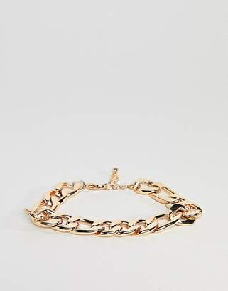 Asos Design Heavyweight Chain Bracelet In Gold