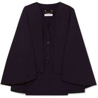 Chloé Cape-effect Wool-blend Vest - Black