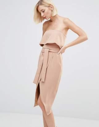 Lavish Alice Bandeau Cropped Tie Front Midi Dress $91 thestylecure.com