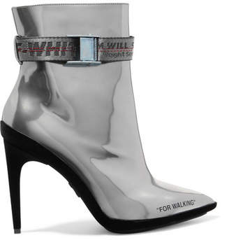 Off-White For Walking Buckled Metallic Leather And Suede Ankle Boots - Silver