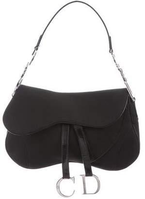 Christian Dior Leather-Trim Saddle Bag