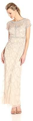 Aidan Mattox Women's Short Sleeve Beaded Illusion Gown