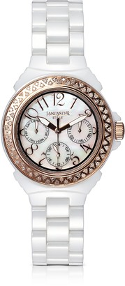 Lancaster Ceramic Diamonds White Multifunction Quartz Movement Watch