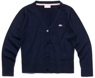 Lacoste Girls' Cotton Jersey Cardigan