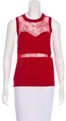 Nina Ricci Wool & Cashmere Lace-Paneled Top