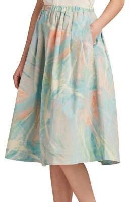 DKNY Peach-Print A-Line Skirt