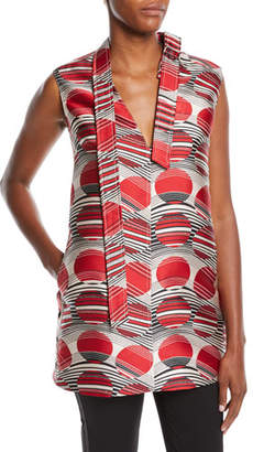 RED Valentino Planet Jacquard Sleeveless Tunic Top