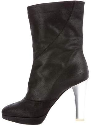Nina Ricci Leather Round-Toe Booties