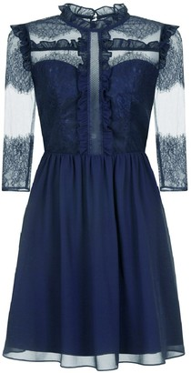 630386748 Evans   Chi Chi London Navy Blue Lace Midi Skater Dress