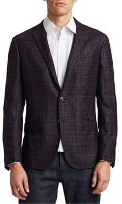 Saks Fifth Avenue COLLECTION Textured Wool, Silk& Cashmere Plaid Sportscoat