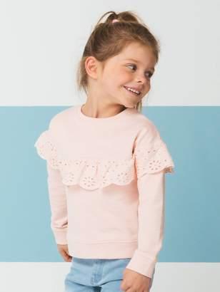 Vertbaudet Sweatshirt for Girls, Broderie Anglaise Ruffle