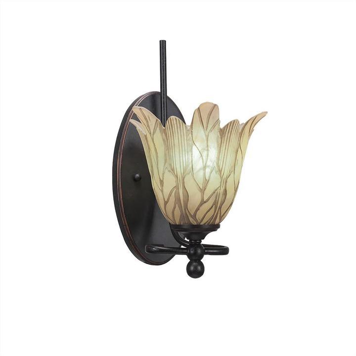 Cambridge SilversmithsCambridge 1-Light Dark Granite Sconce with Vanilla Etched Glass
