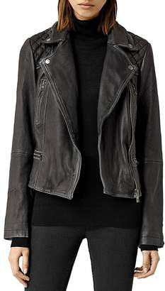 ALLSAINTS Cargo Quilted Leather Biker Jacket $560 thestylecure.com