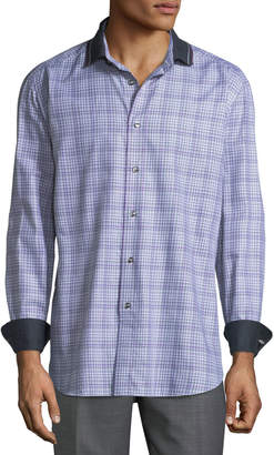 Brioni Men's Fitted Check Sport Shirt W/ Contrast Collar