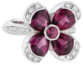 Ring 18K Garnet & Diamond Flower