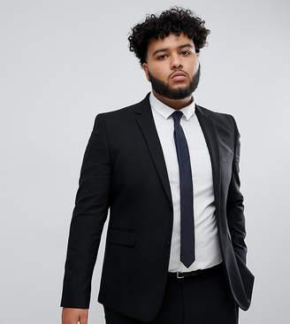 Burton Menswear Big & Tall skinny suit jacket in black