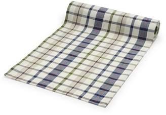 """Sur La Table Plaid White & Blue Table Runner, 108"""" x 16"""""""