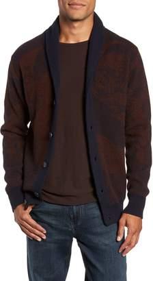 Billy Reid Peacock Shawl Collar Wool Blend Cardigan