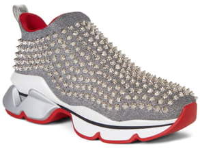 Christian Louboutin Spiky Sock-Knit Slip-On Sneaker
