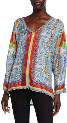 Johnny Was Dragon Printed V-Neck Long-Sleeve Scallop-Edge Silk Top
