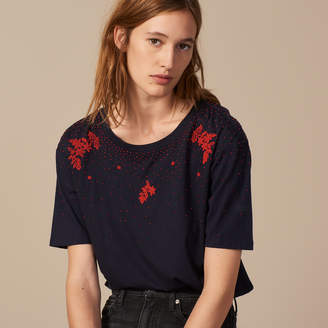 Sandro T-shirt embroidered with beads