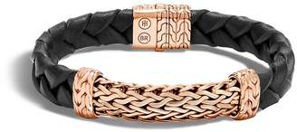 John Hardy Men's Classic Chain Braided Leather Wide Station Bracelet