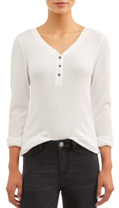 Time and Tru Women's Thermal Henley T-Shirt