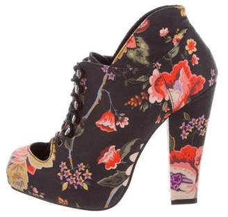 Opening Ceremony Rodarte x Floral Print Lace-Tie Ankle Boots