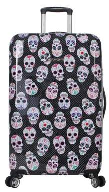 Betsey Johnson Luggage Skull Party 26-Inch Checked Hard Shell Luggage