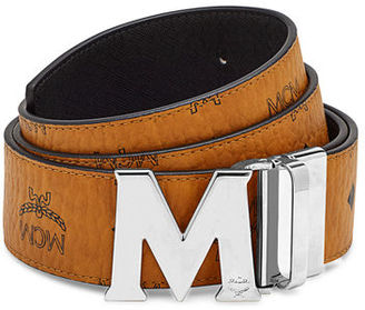 MCM Visetos Reversible M-Buckle Monogram Belt $295 thestylecure.com