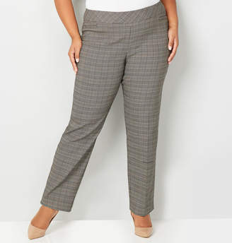Avenue Gold Plaid Super Stretch Pull-On Pant