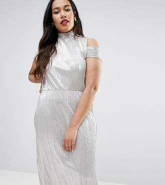 Asos Shimmer Plisse Pleated Midi Dress With Cold Shoulder