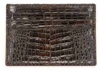 Fiona's Collection Brown Crocodile Leather Cardholder