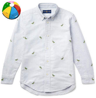 Polo Ralph Lauren Boys Ages 8 - 10 Embroidered Striped Cotton Oxford Shirt - Blue