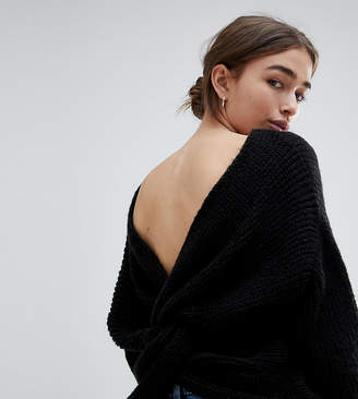 Asos DESIGN Petite sweater with twist back