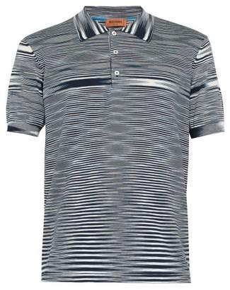 Missoni Striped Cotton Polo Shirt - Mens - Navy White