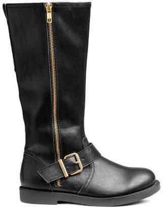 H&M Knee-high Biker Boots - Black
