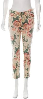 Current/Elliott Floral Print Mid-Rise Jeans