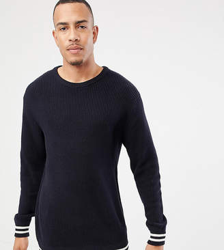 Jacamo Sweater With Striped Cuff And Hem