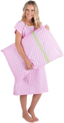 Baby Be Mine Gownies - Designer Hospital Gown Labor Kit (Large/X Large prepregnancy 10-18, Gownie with matching pilowcase)