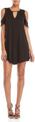 Jessica Simpson Black V-Neck Ruffled Cold Shoulder Dress