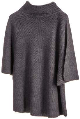 Black Roll Neck Cashmere Sleeved Poncho