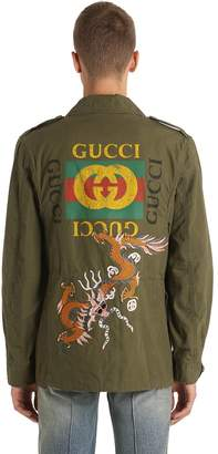 Gucci Dragon Washed Cotton Field Jacket