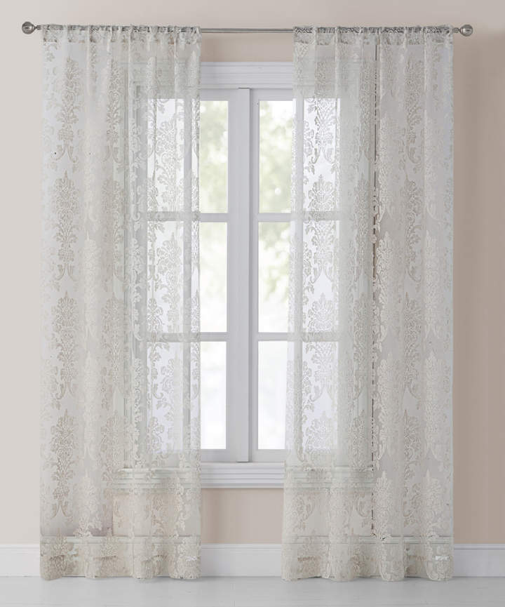 Gray Sheer Osidia Curtain Panel - Set of Two