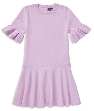 Ralph Lauren Girls' Loryelle Wool Bell-Sleeve Sweater Dress - Little Kid