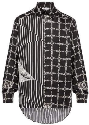 Givenchy Chain And Stripe Print Silk Shirt - Mens - Black White