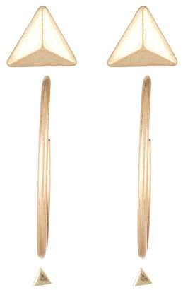 Melrose and Market Triangle Pyramid Stud & 30mm Hoop Earrings - Set of 3
